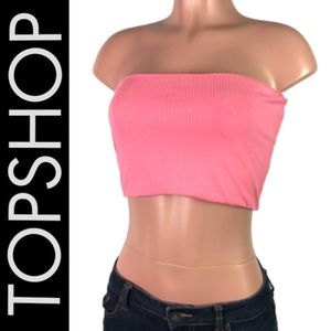 NWT TopShop Pink Ribbed Bandeau Crop Top size 8